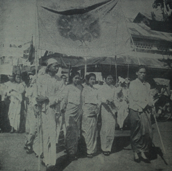 Students mark National Day in Rangoon 1938